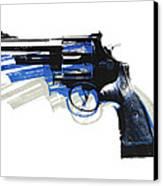 Revolver On White - Left Facing Canvas Print by Michael Tompsett