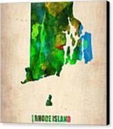 Rhode Island Watercolor Map Canvas Print by Naxart Studio