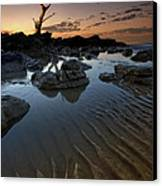 Ripples In The Sand Canvas Print by Mark Leader