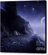 Rising Moon Over Ocean And Mountains Canvas Print by Evgeny Kuklev