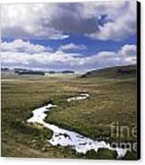 River In A Landscape Canvas Print by Bernard Jaubert
