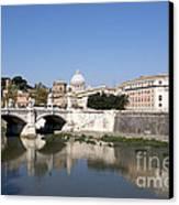 River Tiber With The Vatican. Rome Canvas Print by Bernard Jaubert