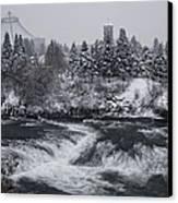 Riverfront Park Winter Storm - Spokane Washington Canvas Print by Daniel Hagerman