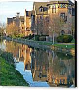 Riverside Home Reflections Vertical Canvas Print by Gill Billington