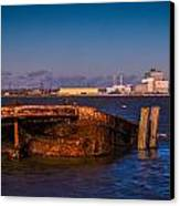 Riverside Wreck Canvas Print by Dawn OConnor