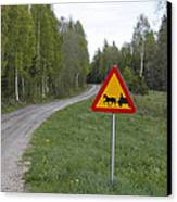 Road Sign With Carriage Canvas Print by Ulrich Kunst And Bettina Scheidulin