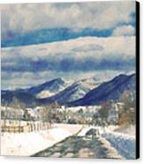 Road To The Mountains Canvas Print by Kathy Jennings