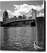 Roberto Clemente Bridge Pittsburgh Canvas Print by Amy Cicconi