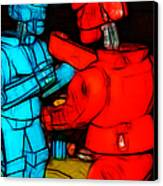 Rockem Sockem Robots - Color Sketch Style - Version 1 Canvas Print by Wingsdomain Art and Photography