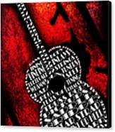 Rockin Guitar In Red Typography Canvas Print