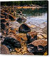 Rocks At Shore Of Georgian Bay Canvas Print by Elena Elisseeva