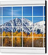 Rocky Mountain Autumn High White Picture Window Canvas Print