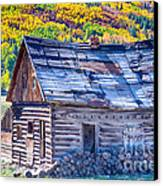 Rocky Mountain Rural Rustic Cabin Autumn View Canvas Print