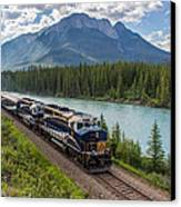 Rocky Mountaineer At Muleshoe On The Bow River Canvas Print by Steve Boyko