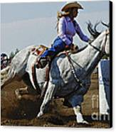 Rodeo Barrel Racer Canvas Print by Bob Christopher