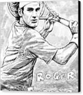 Roger Federer Art Drawing Sketch Portrait Canvas Print by Kim Wang