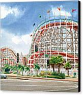 Roller Coaster Mission Beach Canvas Print by Mary Helmreich
