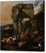 Roman Landscape With Cattle And Shepherds Canvas Print by Johann Heinrich Roos