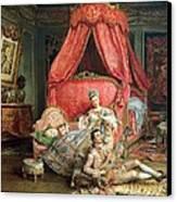 Romantic Scene Canvas Print by Ignacio De Leon y Escosura