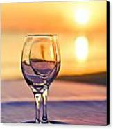 Romantic Sunset Drink With Wine Glass Canvas Print by Tuimages