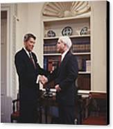 Ronald Reagan And John Mccain Canvas Print by Carol Highsmith