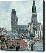 Roofs Of Old Rouen Grey Weather  Canvas Print by Camille Pissarro
