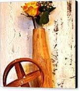 Rose Sphere And Mango Wood Vase Canvas Print