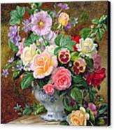 Roses Pansies And Other Flowers In A Vase Canvas Print by Albert Williams