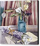 Roses Tulips And Striped Curtains Canvas Print by Julia Rowntree
