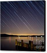 Round Bay Startrails And A Meteor Shower Canvas Print by Benjamin Reed