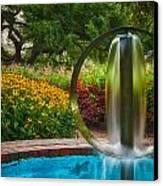 Round Water Sculpture Prescott Park Garden  Canvas Print