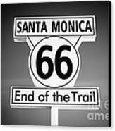 Route 66 Sign In Santa Monica In Black And White Canvas Print
