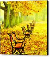 Row Of Red Benches In The Park Canvas Print