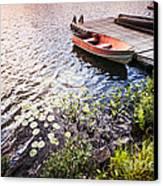 Rowboat At Lake Shore At Sunrise Canvas Print