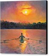 Rowing Away Canvas Print by Eve  Wheeler