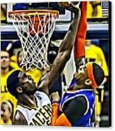 Roy Hibbert Vs Carmelo Anthony Canvas Print by Florian Rodarte