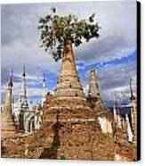 Ruined Pagodas At Shwe Inn Thein Paya Canvas Print
