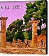 Ruins At Olympus Greece Canvas Print by John Malone