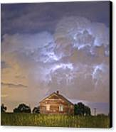 Rural Country Cabin Lightning Storm Canvas Print