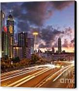 Rush Hour During Sunset In Hong Kong Canvas Print