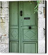 Rustic Green Door With Vines Canvas Print