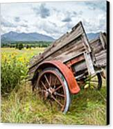 Rustic Landscapes - Wagon And Wildflowers Canvas Print