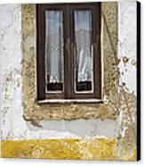Rustic Window Of Medieval Obidos Canvas Print