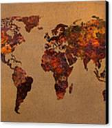 Rusty Vintage World Map On Old Metal Sheet Wall Canvas Print by Design Turnpike