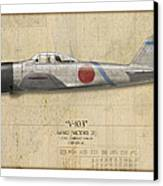 Saburo Sakai A6m Zero - Map Background Canvas Print by Craig Tinder
