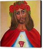 Sacred Heart- Crown Of Roses Canvas Print