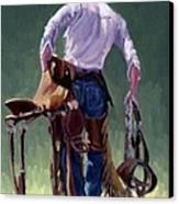 Saddle Bronc Rider Canvas Print by Randy Follis