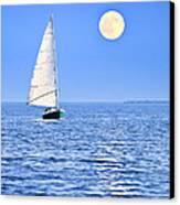 Sailboat At Full Moon Canvas Print by Elena Elisseeva