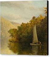 Sailboat On River Canvas Print