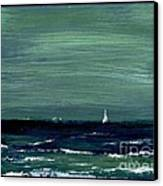 Sailboats Across A Rough Surf Ventura Canvas Print by Cathy Peterson